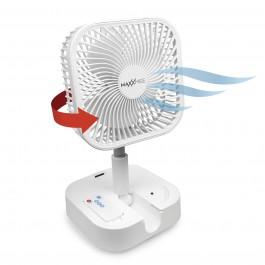 MAXXMEE Akku-Ventilator klappbar - Schwenkbarer Stand- und Tischventilator - weiß