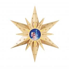 christmaxx LED-Holzstern mit Engelsmotiv in Gold, 50 cm