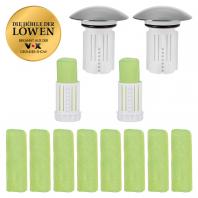 2x Abfluss-Fee Verschlussstopfen weiß/chrom mit Duftstein + Duftstein 8er-Set grün