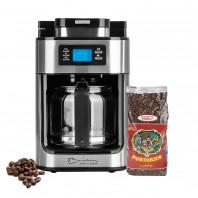 Barista Kaffeeautomat Mahlfunktion 1050W Edelstahl/schwarz + Kaffee Portorico Caffè - Lieferumfang Freisteller