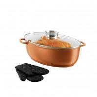bratmaxx Keramik-Aromabräter mit Glasdeckel & Handschuhen Kupferfarbend - Freisteller