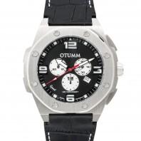 Otumm Leder Speed Edelstahl 53 mm, schwarz - Frontansicht