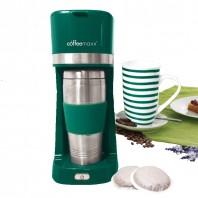 coffeemaxx Single-Kaffeemaschine in Grün inkl. Keramikbecher und Thermobecher - Freisteller