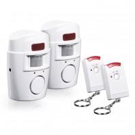EASYmaxx Bewegungsmelder mit Alarmsignal 2er-Set 6V in Weiß mit 2 Fernbedienungen - Freisteller 1