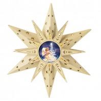 CHRISTmaxx LED-Holzdeko Stern Engelsmotiv 30 cm, naturfarben mit Fernbedienung - Freisteller