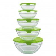 GOURMETmaxx Aufbewahrungs-Schüsseln Glas 10-tlg. in Limegreen Frischhalteboxen Lunchbox, B-Ware