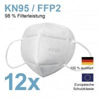 Atemschutzmaske KN95 PPF2 - 98% Filterleistung - 2er-Set – weiß