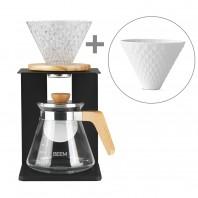 BEEM POUR OVER Kaffeebereiter Set - 4 Tassen + Extra Porzellanfillter + 10 x Spitzpapierfilter