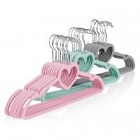 EASYmaxx Kleiderbügel Herzform 30-tlg. in Grau/Mint/Pink