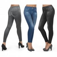 Figur Body Slim Jeans Jeggings 3er-Set in Schwarz, Grau und Blau - 3er-Set