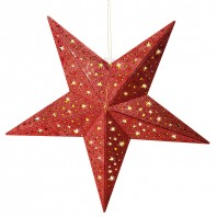 christmaxx  LED-Holzstern mit Glitzer-Dekor in Rot, 40 cm - Freisteller