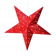 christmaxx LED-Holzstern mit Glitzer-Dekor rot/gold-rot-60 cm - Freisteller