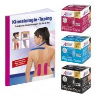 Aktimed TAPE PLUS 3x 5m inkl. Taping-Buch | Physio-Tape für kinesiologisches Taping | speziell entwickelter Klebstoff mit pflanzlichen Extrakten