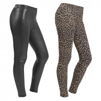 Figur Body Slim Leggings, 2er-Set Leo-Print / Leder-Optik