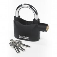 EASYmaxx Security Vorhängeschloss in Schwarz/Silber mit Alarmfunktion - Freisteller