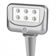 EASYmaxx LED-Gartenstrahler Bewegungssensor, silber - Frontansicht