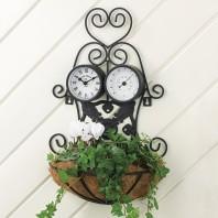 Pflanzgestell Nostalgie mit Uhr und Thermometer