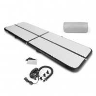 FitEngine Air Track Trainingsmatte - aufblasbar - 3 x 1 m - grau/schwarz