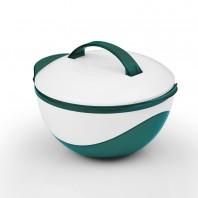 GOURMETmaxx Thermoschüssel metallic 750 ml, smaragdgrün/weiß