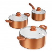BRATmaxx Keramik-Kochtopf-Set inkl. Glasdeckel, 6-tlg. - Kupferfarben  - Freisteller