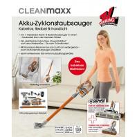 CLEANmaxx Akku-Zyklon-Staubsauger Pet Star 2in1 14,8V in Orange/Silber