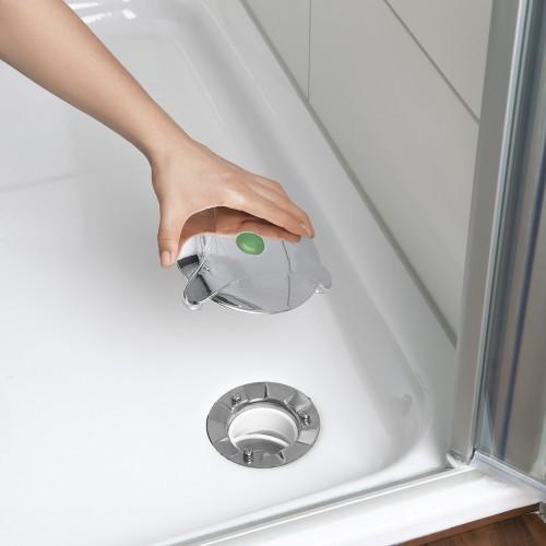 abfluss fee verschlussstopfen dusche 5 tlg in wei chrom. Black Bedroom Furniture Sets. Home Design Ideas