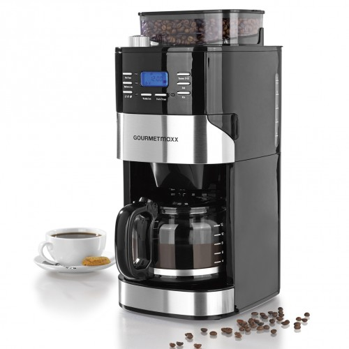 gourmetmaxx kaffeemaschine mit mahlwerk 1050 w in edelstahl schwarz. Black Bedroom Furniture Sets. Home Design Ideas