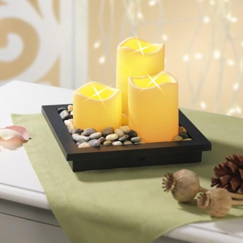 Candlemaxx Deko Tablett Mit Led Kerzen 5 Teilig