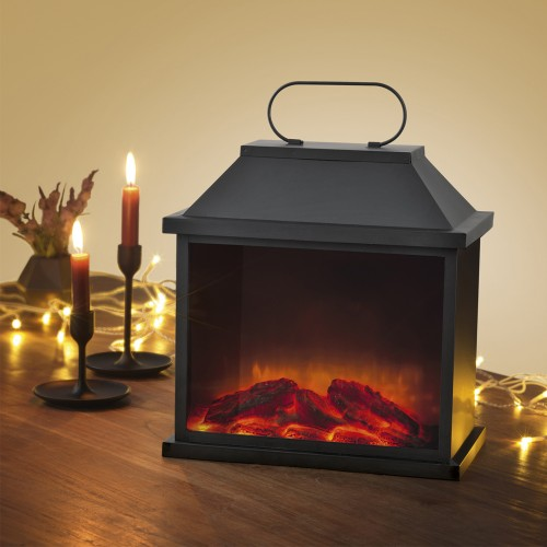 easymaxx led laterne flamme metall 4 5v 30 x 18 x 31 5 cm in schwarz. Black Bedroom Furniture Sets. Home Design Ideas