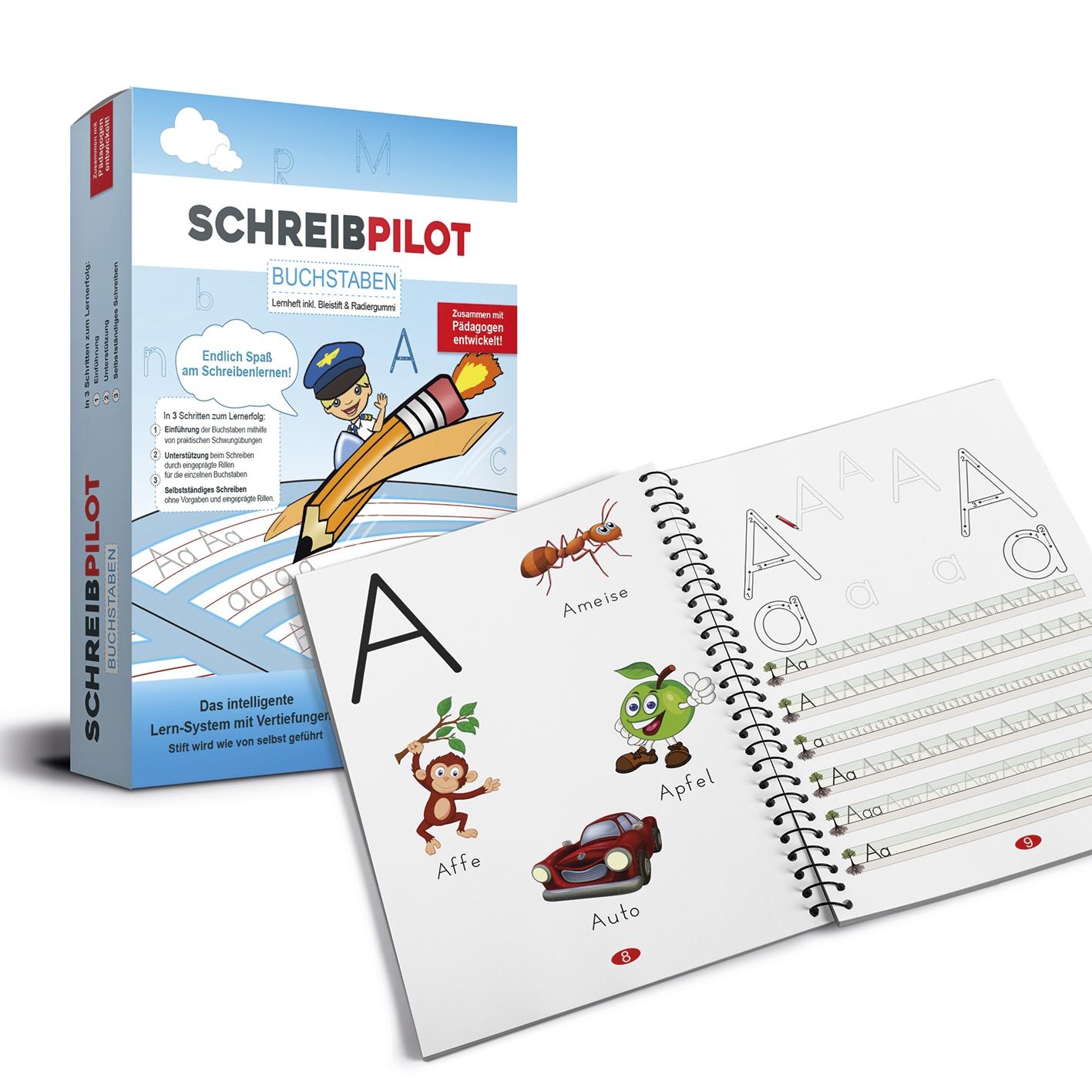 Schreibathlet Schreibpilot Schreib Athlet Pilot Buchstaben Bleistift//Radiergummi