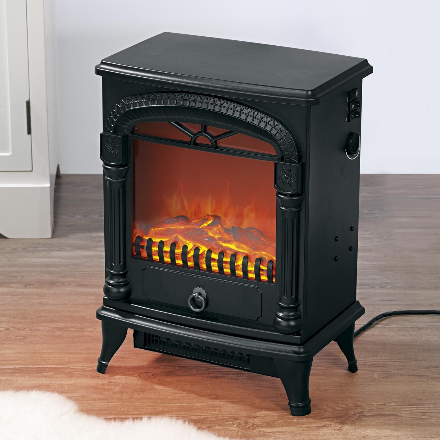 easymaxx elektro led stand kamin nostalgie flammeneffekt heizung schwarz 1950w ebay. Black Bedroom Furniture Sets. Home Design Ideas