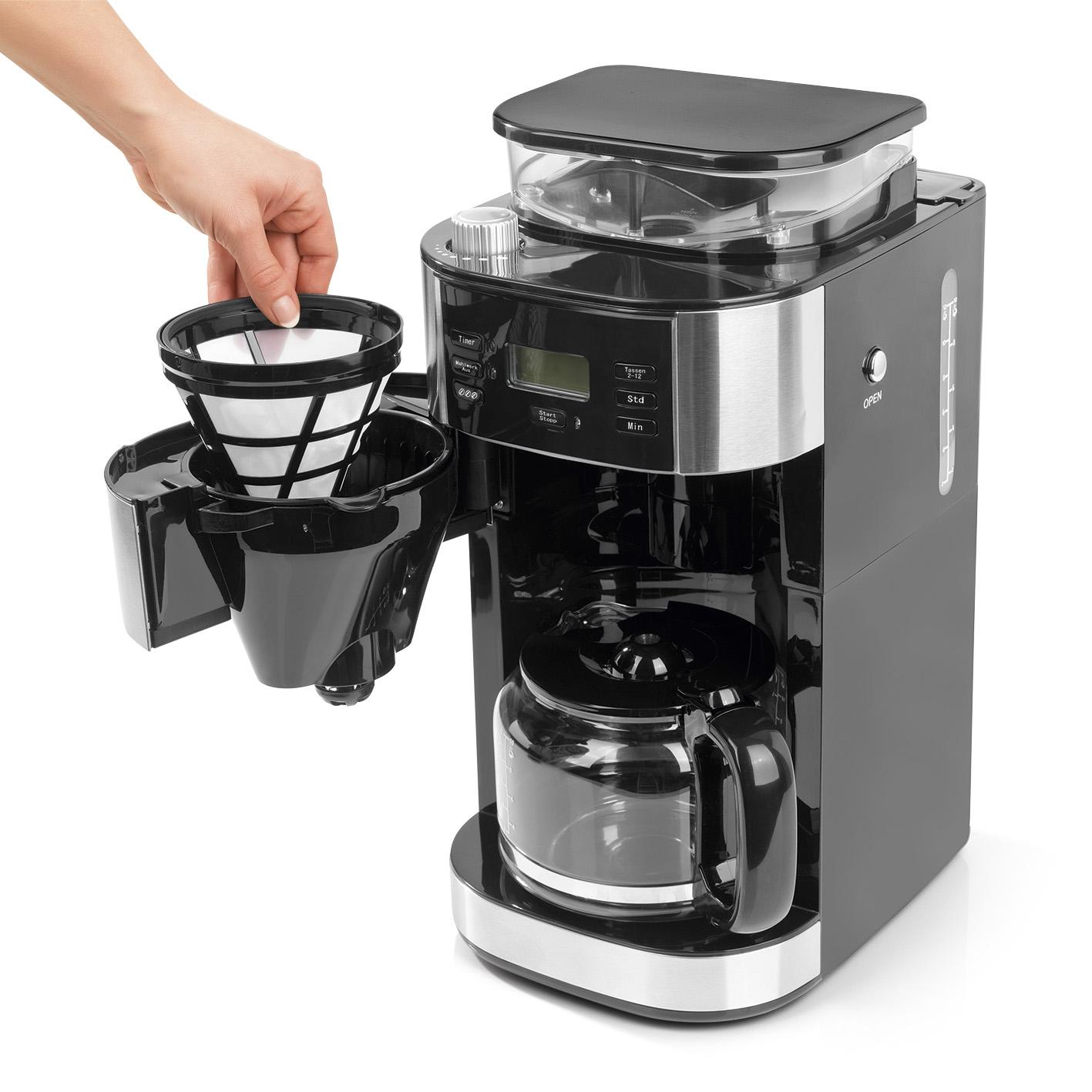 barista kaffeemaschine mahlwerk 900w edelstahl schwarz 12 tassen permanentfilter ebay