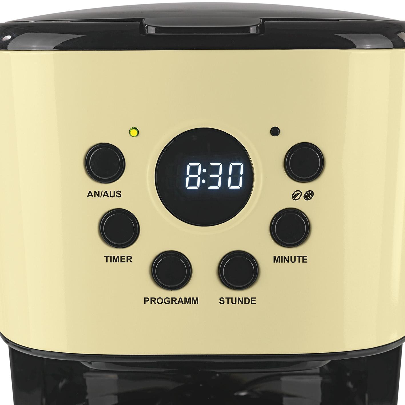 gourmetmaxx kaffeemaschine retro 900w vanille permanentfilter display timer ebay. Black Bedroom Furniture Sets. Home Design Ideas