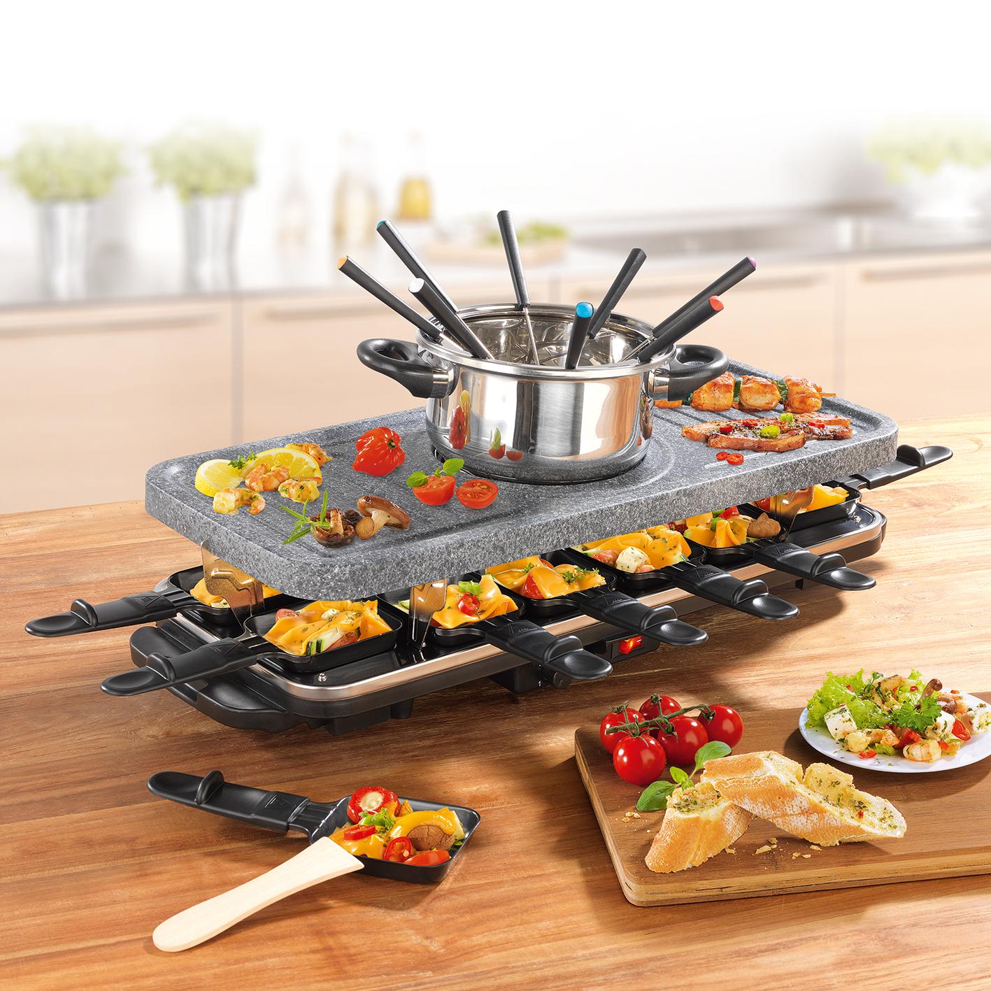 gourmetmaxx raclette fondue set f r 12 personen 1600w grill hei er stein ebay. Black Bedroom Furniture Sets. Home Design Ideas