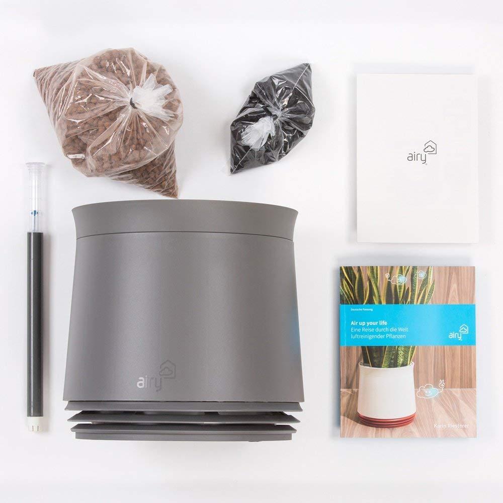 AIRY Pot weiß//grau Luftreiniger Blumentopf für saubere Raumluft 27 cm hoch