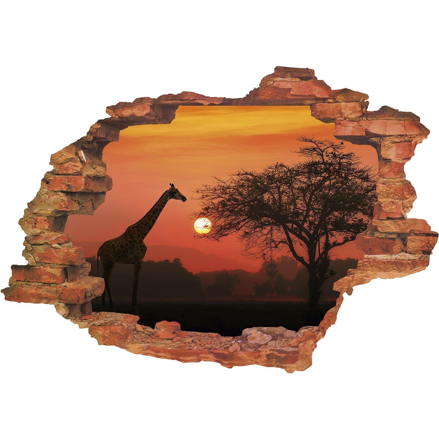 Wandsticker in 3D-Optik Sonnenuntergang in Afrika Wanddeko Wandtattoo Aufklebe