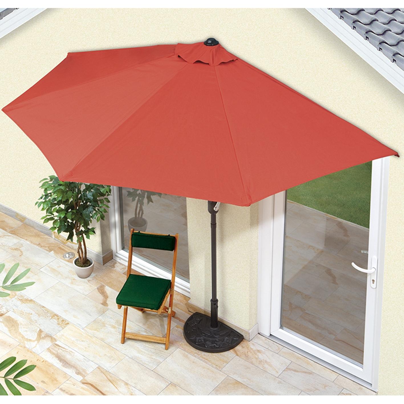 Turbo Sonnenschirm Balkon Hauswand Terassenschirm UV-Schutz inkl. Fuß MJ65