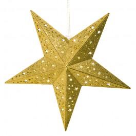 christmaxx  LED-Holzstern mit Glitzer-Dekor in Gold, 40 cm - Freisteller