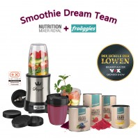 frooggies Fruchtpulver 4er Set je 100g pro Dose + Nutrition Mixer Mr. Magic Royal 10-tlg. - Smoothie Dream Team