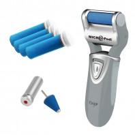 emjoi Micro Pedi zur Fußpflege in Grau inkl. 4 Ersatzrollen und 1 Kegelaufsatz - Setbild