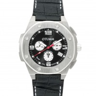 Otumm Leder Speed Edelstahl 45 mm, schwarz - Frontansicht