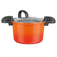 BRATmaxx Keramik-Energiespartopf 24 cm in Orange mit Abgießdeckel - Freisteller 1