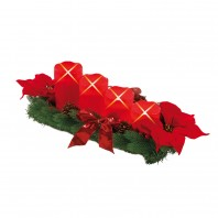 christmaxx Adventsranz rechteckig mit 4 LED Echtwachskerzen rot - Freisteller