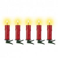 kerzenzauber Kabellose Christbaumkerzen Ergänzungsset 5-teilig, rot