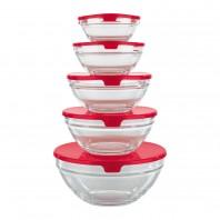Aufbewahrungs-Glasschüsseln, 10-teilig metallic rot - Freisteller