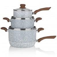 BRATmaxx Keramik-Koch- & Bratset Marmor-Optik 7-tlg. in Grau mit Griff in Holz-Optik inkl. Glasdeckel - Set