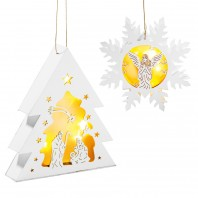 CHRISTmaxx LED-Holzdeko Schneeflocke & Tannenbaum 3V in Weiß