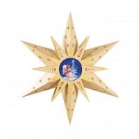 christmaxx LED-Holzstern mit Engelsmotiv in Natur, 50 cm - Freisteller