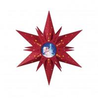 christmaxx LED-Holzstern mit Engelsmotiv in Rot, 50 cm - Freisteller