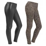 Figur Body Slim Leggings, 2er-Set Leo-Print / Leder-Optik